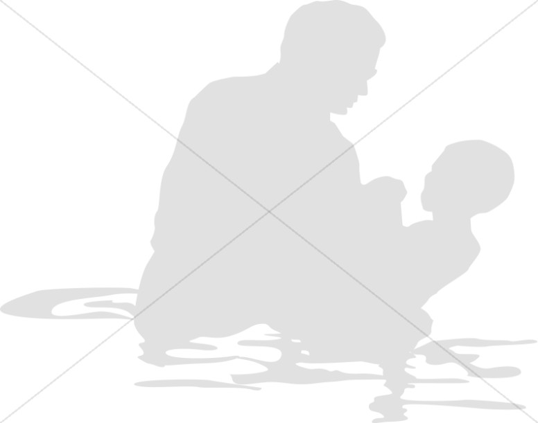 Baptism clipart silhouette. Of baby held up