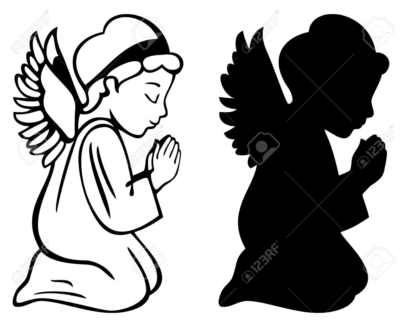 praying angel stock. Baptism clipart silhouette