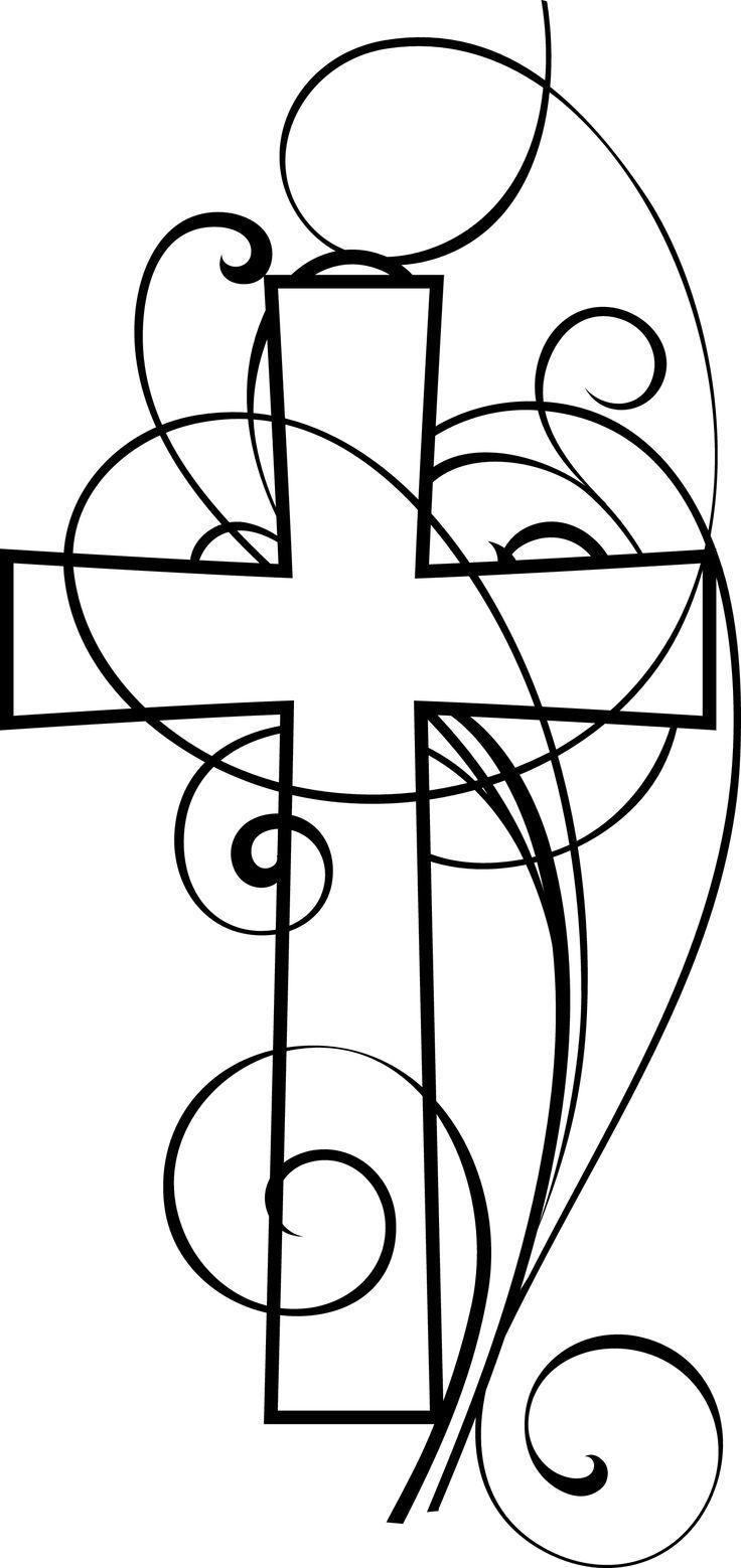 Christian clipart black and white. Cross swirls tattoos