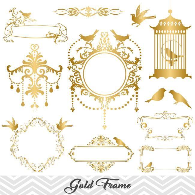 Golden frame border gold. Baptism clipart swirl