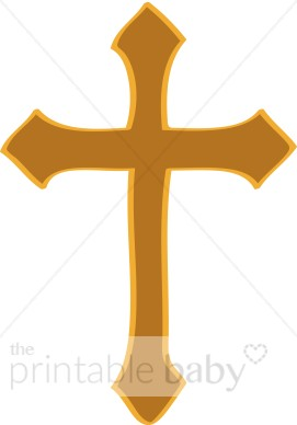 Gold artistic cross christian. Baptism clipart swirl