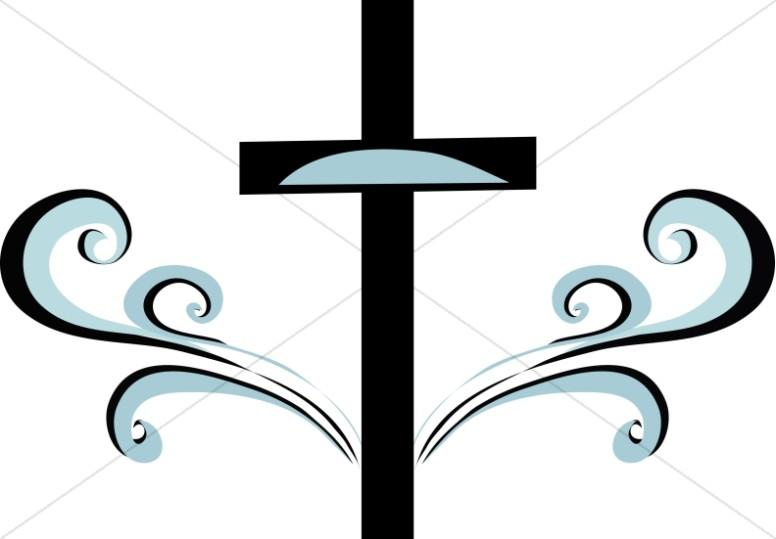 Blue and black cross. Baptism clipart swirl