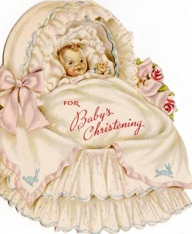 best christening cards. Baptism clipart vintage