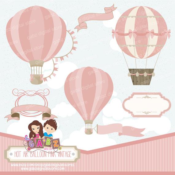 Baptism clipart vintage. Hot air balloon pink