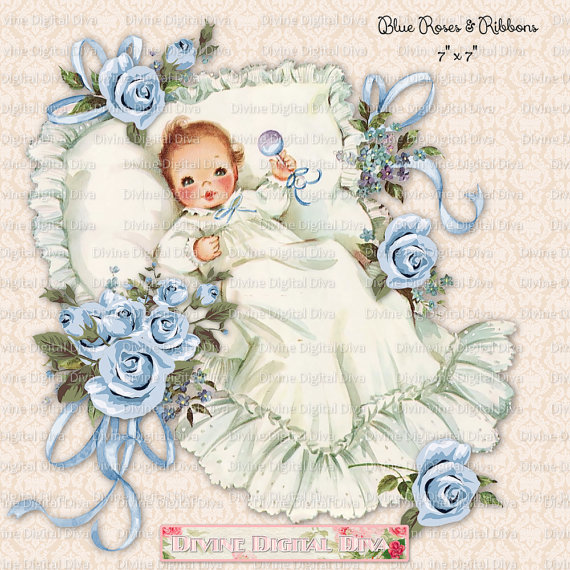 Baby boy with blue. Baptism clipart vintage
