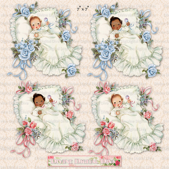 Baby roses ribbons pack. Baptism clipart vintage