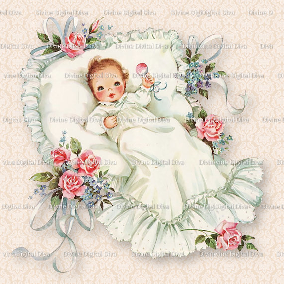 Baptism clipart vintage. Baby with roses christening