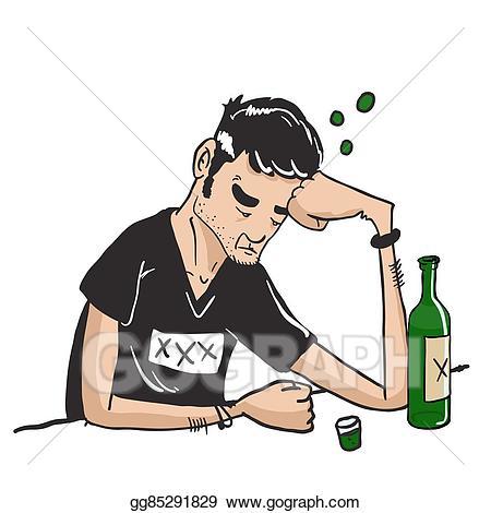 Bar clipart alcohol. Vector art sad man