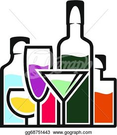 Champagne motifs happy hour. Bar clipart alcohol