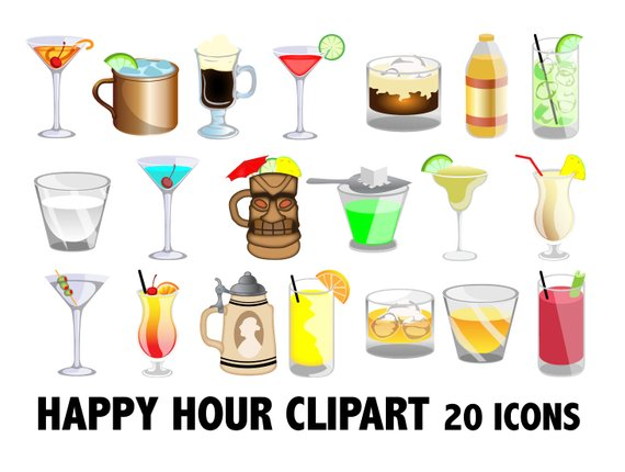 Happy hour alcohol beverages. Cocktails clipart alcoholic drink
