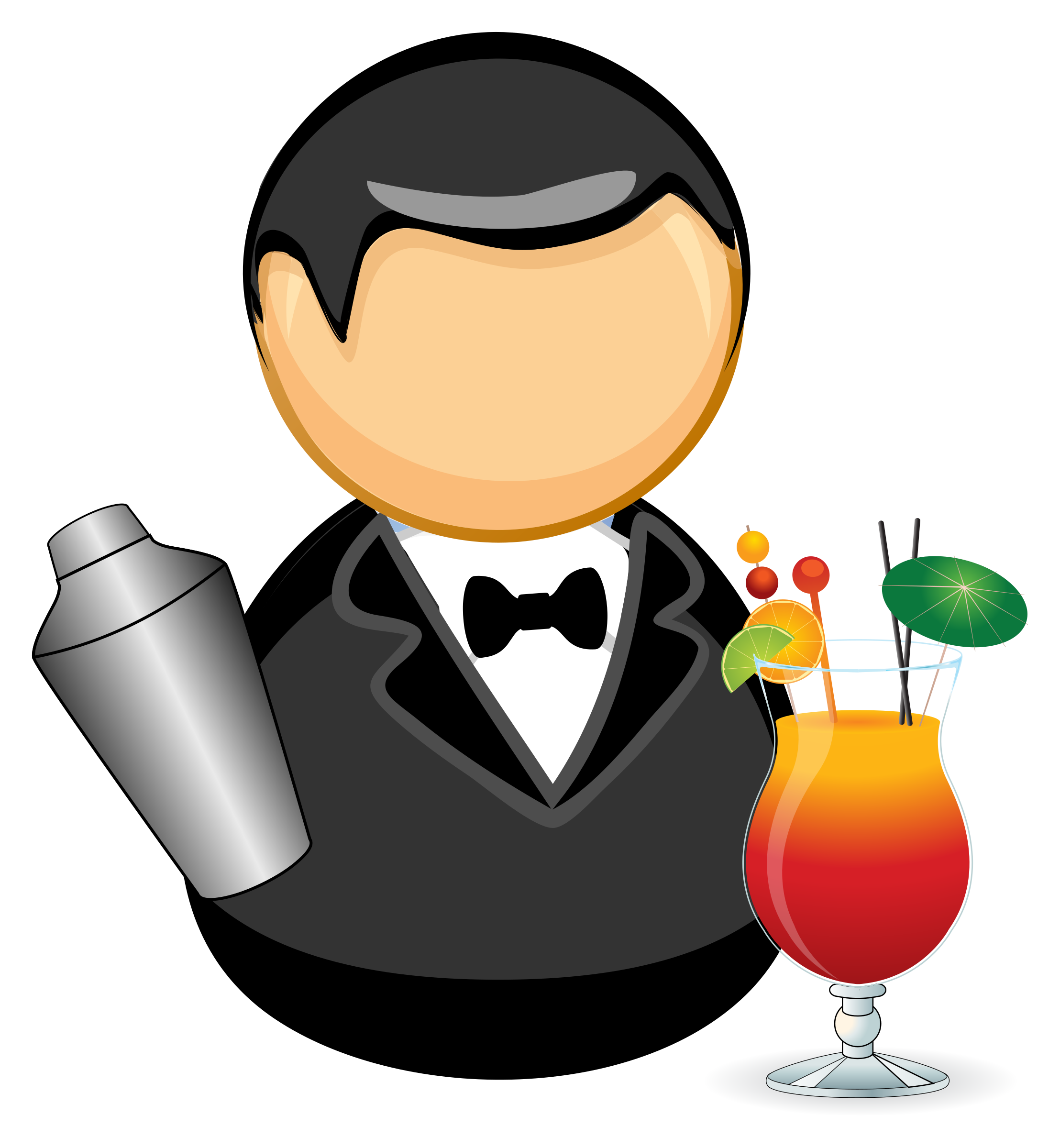Barman big image png. Retro clipart bartender