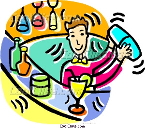 Bar clipart bartender. Mixing drinks at a