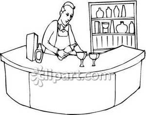 Bar clipart bartender. Pouring wine royalty free
