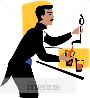 Beer catering. Bar clipart bartender