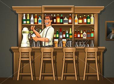 Bar clipart bartender. At pub counter panda