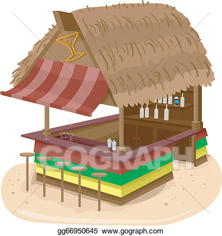 Bar clipart beach bar. Vector stock hut illustration