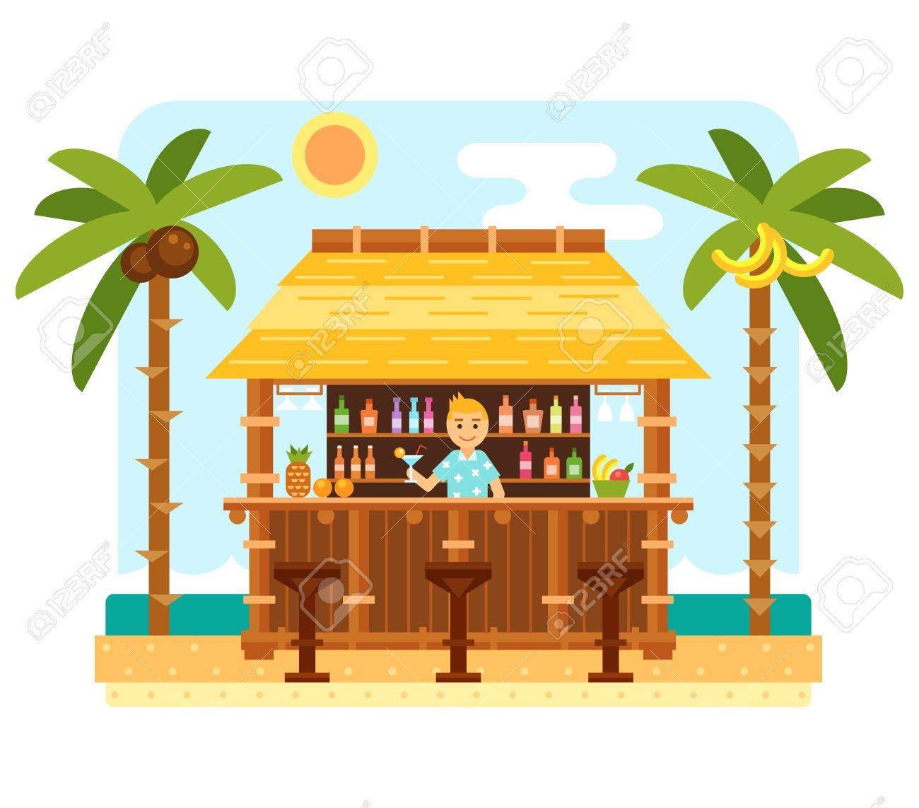 And barmen station . Bar clipart beach bar