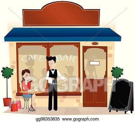 Vector and sidewalk eps. Bar clipart cafe bar