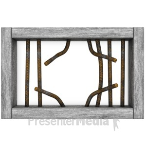 Stick figure in jail. Bar clipart cage