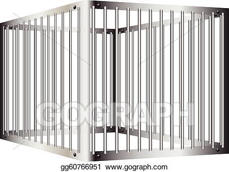 Vector stock prison illustration. Bar clipart cage