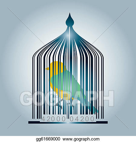 Vector art code drawing. Bar clipart cage