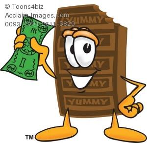 Chocolate holding money . Bar clipart cartoon