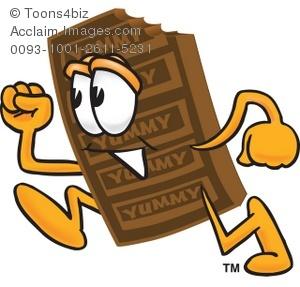 Chocolate running . Bar clipart cartoon