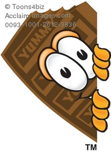 Bar clipart cartoon. Chocolate peeking out