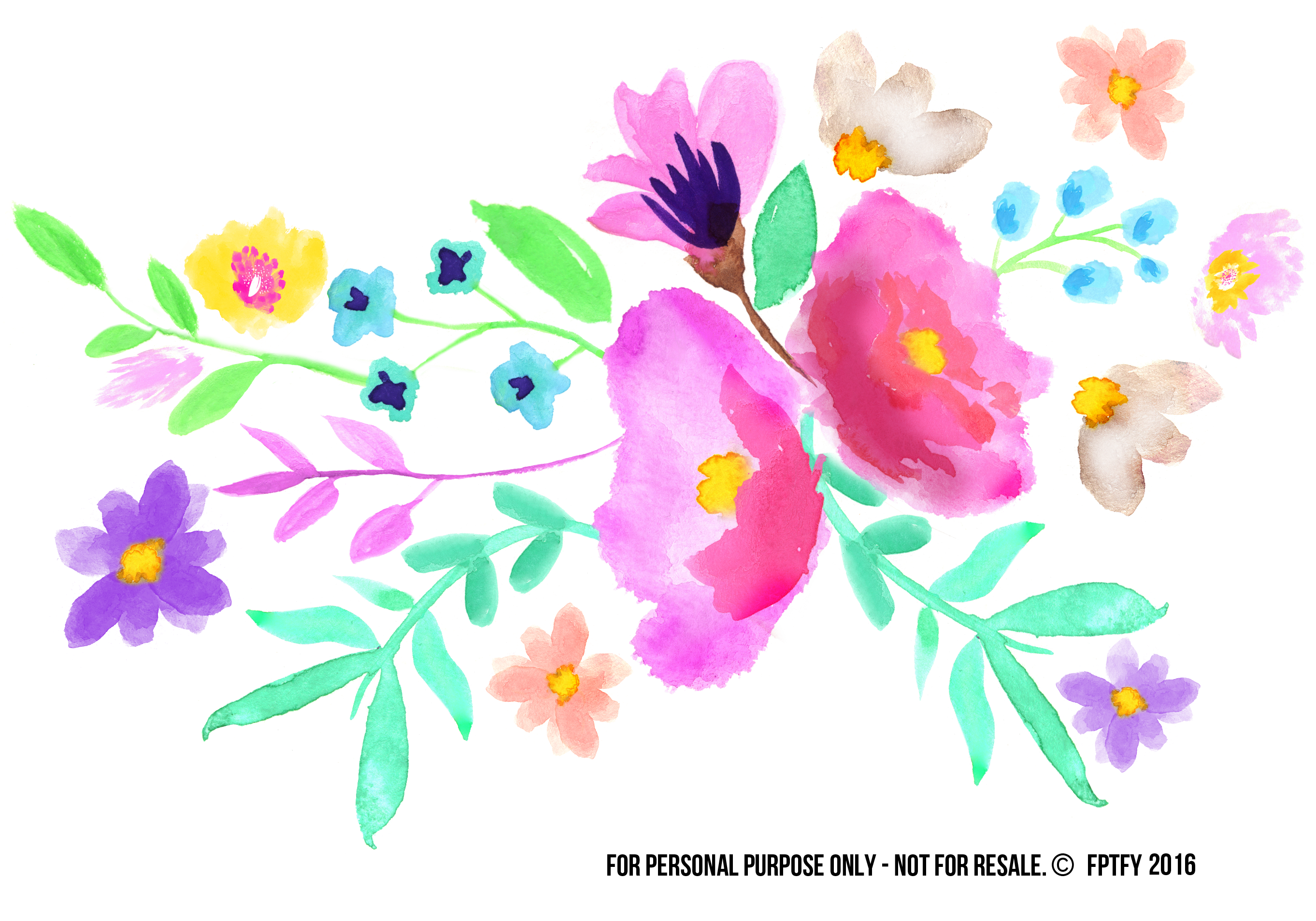 Showering clipart water spray. Spring watercolor floral clip