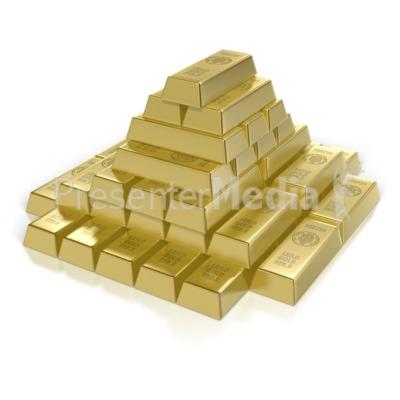 Pyramid business and finance. Bar clipart gold bar
