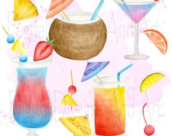 Watercolor drinks etsy cocktails. Bar clipart mixed drink