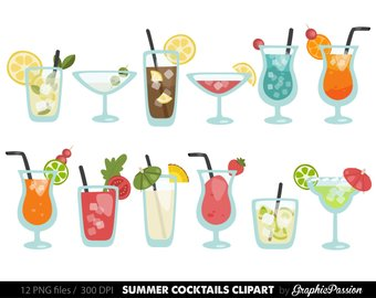 Bar clipart mixed drink. Cocktails etsy summer cocktail