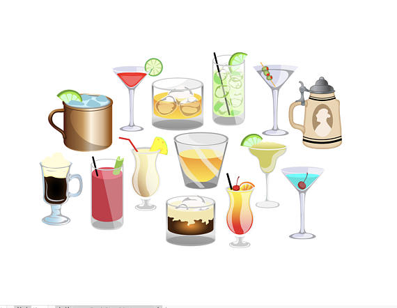 Bar clipart mixed drink. Happy hour alcohol beverages