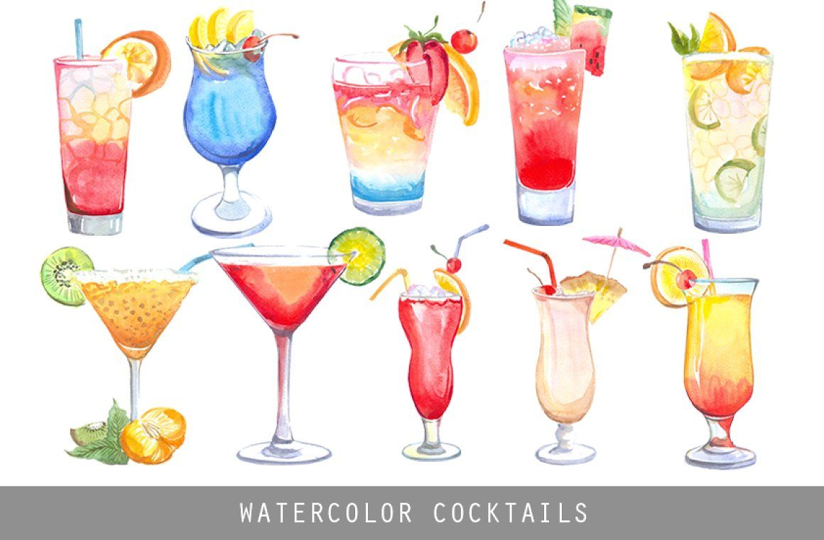 Cocktail clipart bar drink. Watercolor cocktails