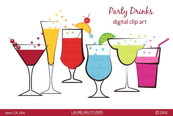 Bar clipart mixed drink. Party drinks clip art