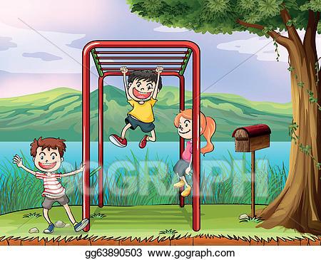 Vector art kids playing. Bar clipart monkey bar