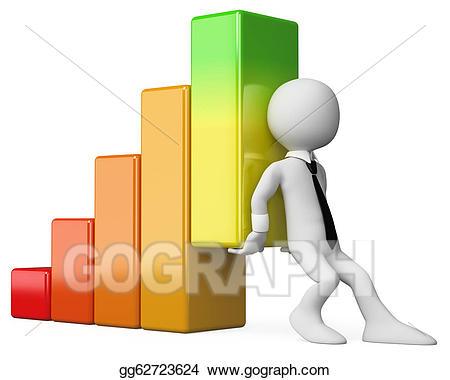 Stock illustration d business. Graph clipart economic graph
