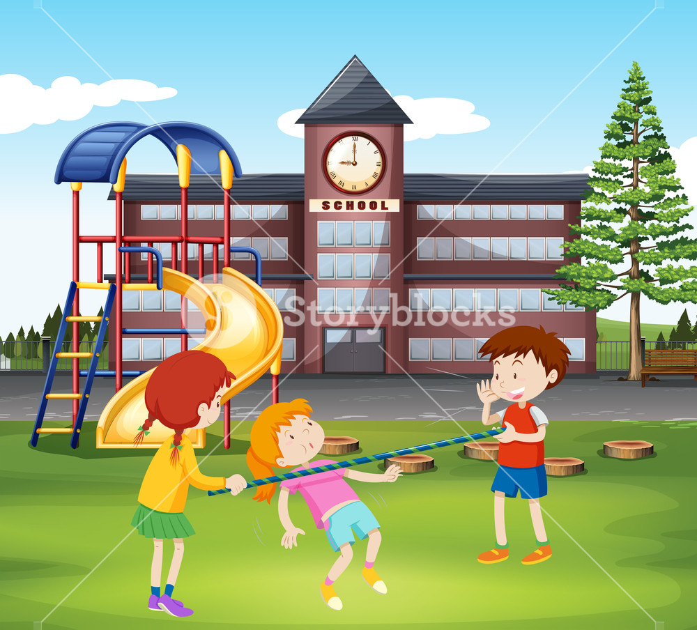 Children playing with in. Bar clipart playground