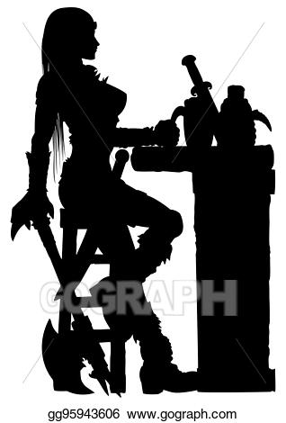 Drawing warrior woman sitting. Bar clipart silhouette