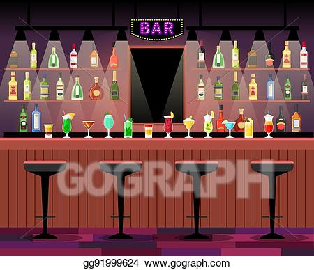 Eps counter with alcohol. Bar clipart vector