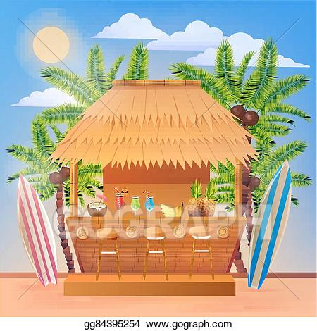 Bar clipart vector. Tropical vacation banner with