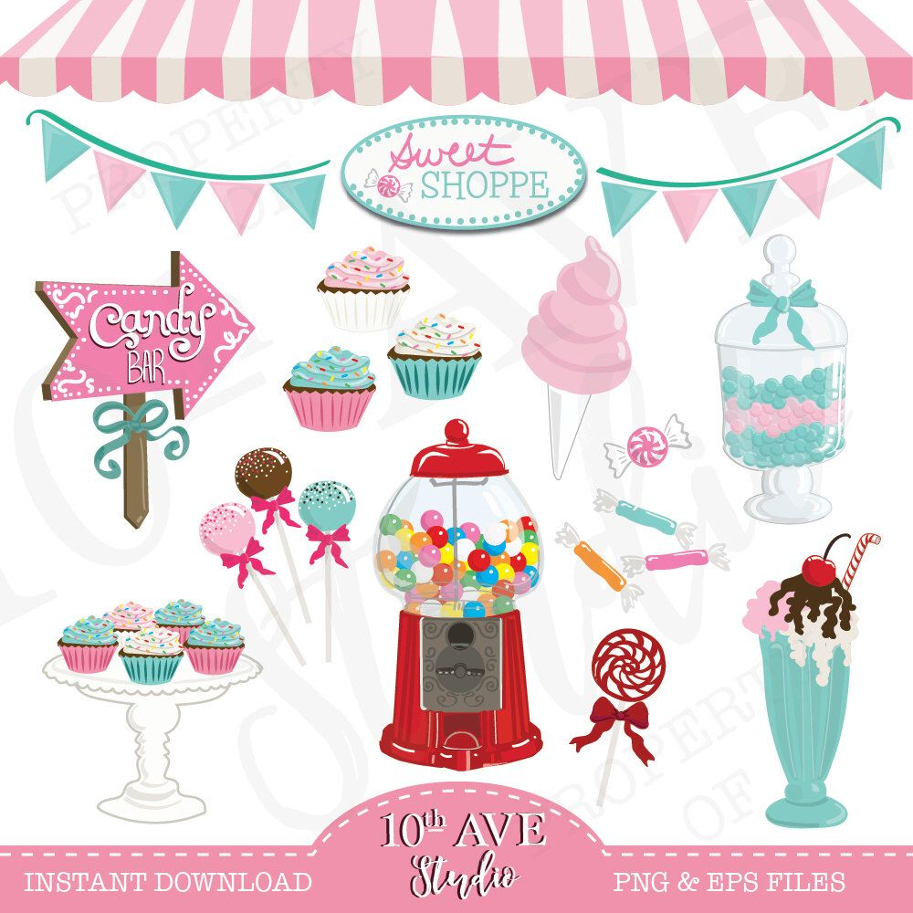 Sweet shoppe candy graphics. Bar clipart vector