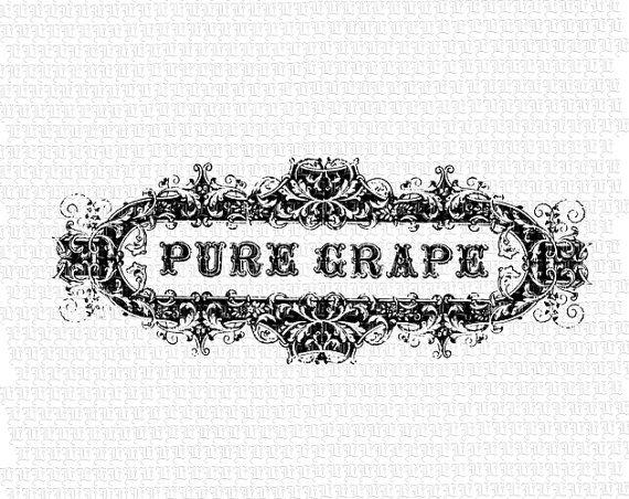 Pure grape wine label. Bar clipart victorian