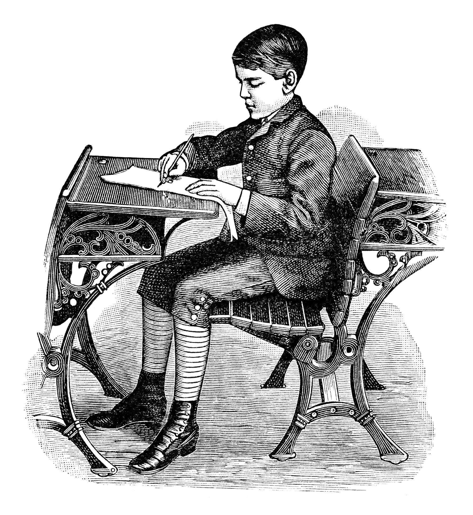 Vintage school boy illustrations. Bar clipart victorian