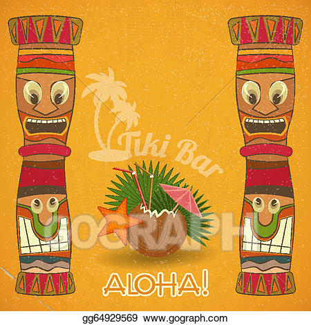 Bar clipart vintage. Vector hawaiian tiki illustration