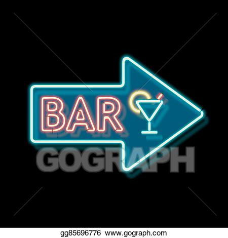 Drawing neon sign with. Bar clipart vintage