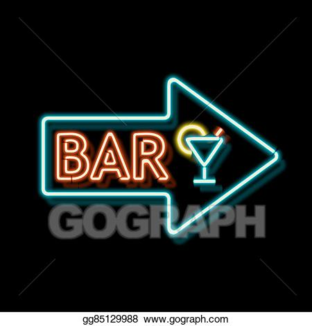 Bar clipart vintage. Drawing neon sign with