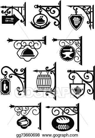 Vector hanging signboard with. Bar clipart vintage