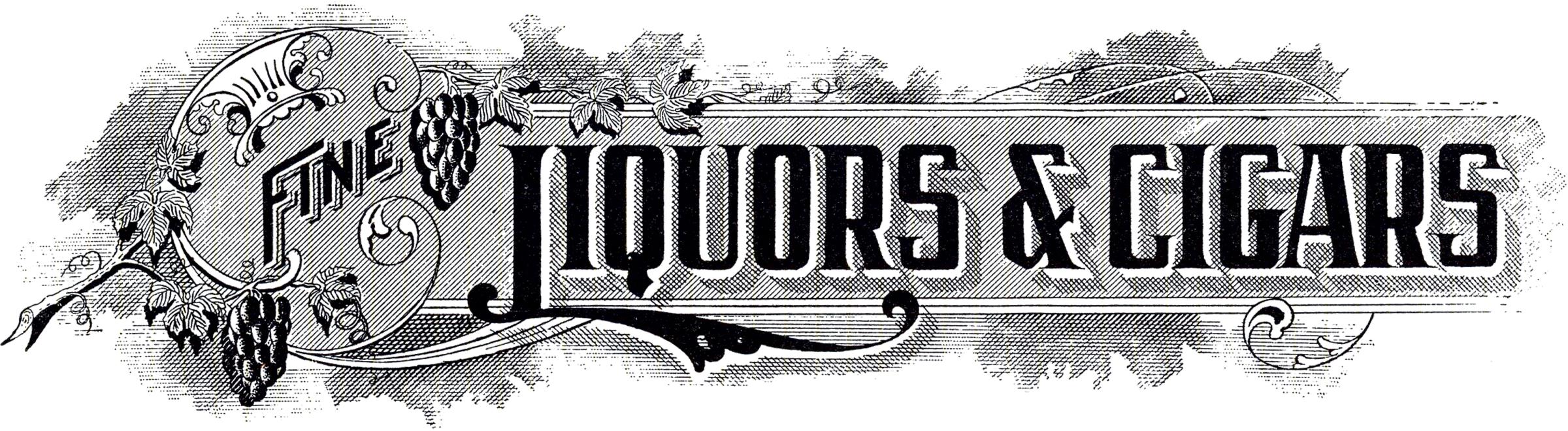 Liquor cigar sign the. Bar clipart vintage
