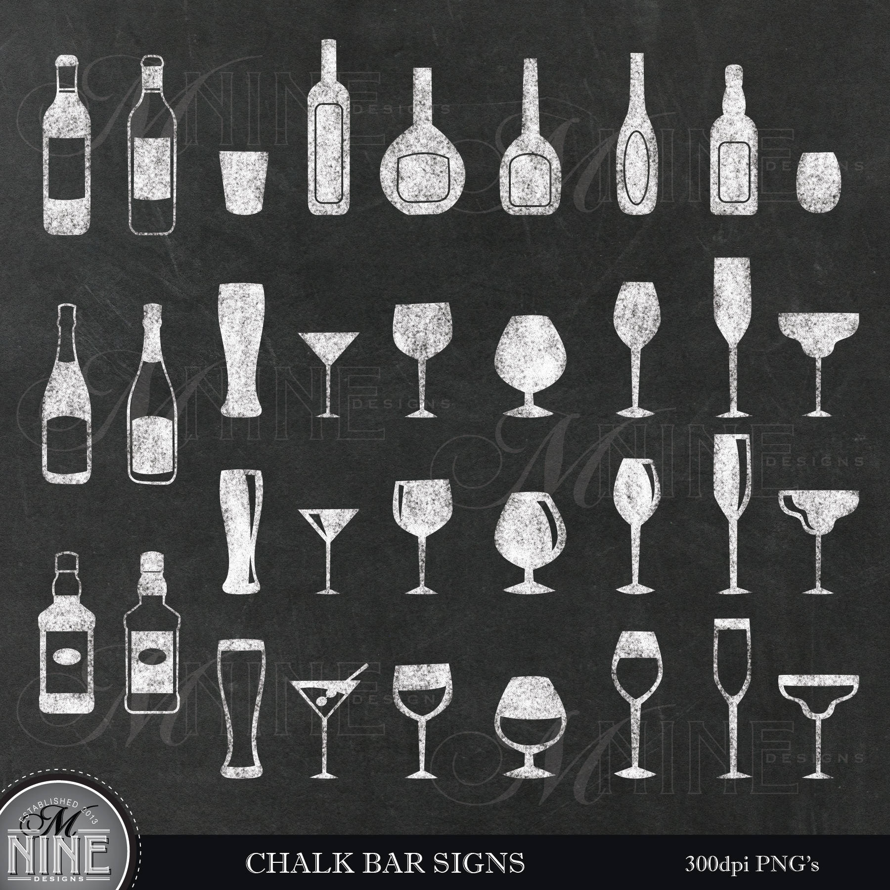 Bar clipart wine bar. Chalk bottles and glasses